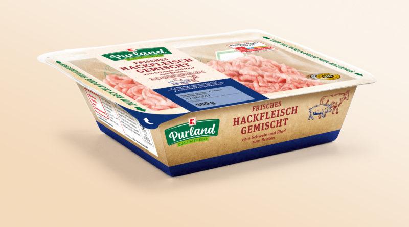 Neue Kaufland-Verpackung für Hakcfkfleisch in der Selbstbedienungstheke packaging