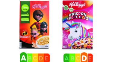 Frühstücksflocken von Kellogs im Nutri Score Vergleich von Foodwatch