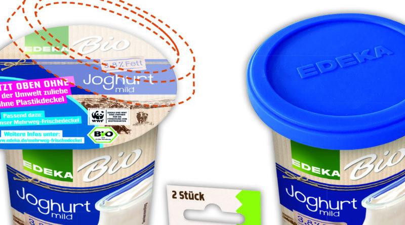 Neue Deckel für Joghurtbecher bei Edeka