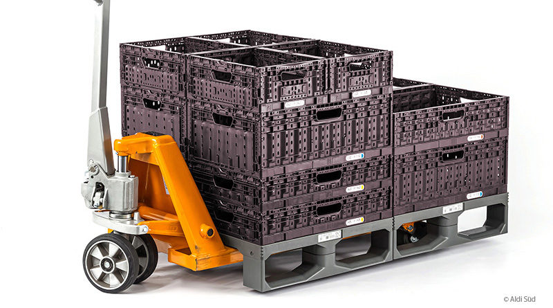 Aldi Süd stellt auf recyclingfähige Kunststoffpaletten um
