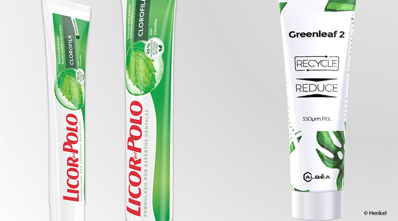 Handle presses on the tube for recyclable toothpaste packaging