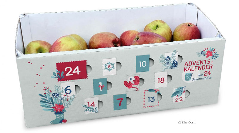 Apple basket as advent calendar