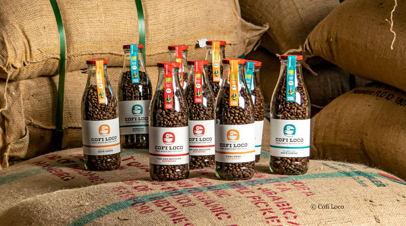 Coffee beans in reusable bottle