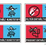 Warning label for single-use plastics